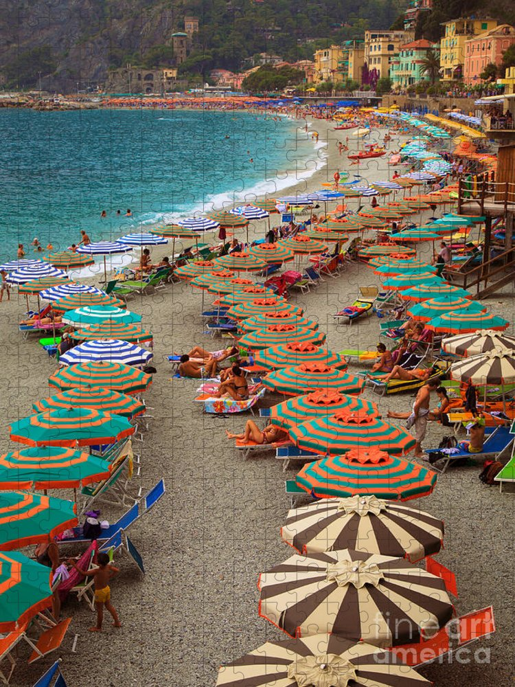 Cinque Puzzle featuring the photograph Monterosso Beach by Inge Johnsson