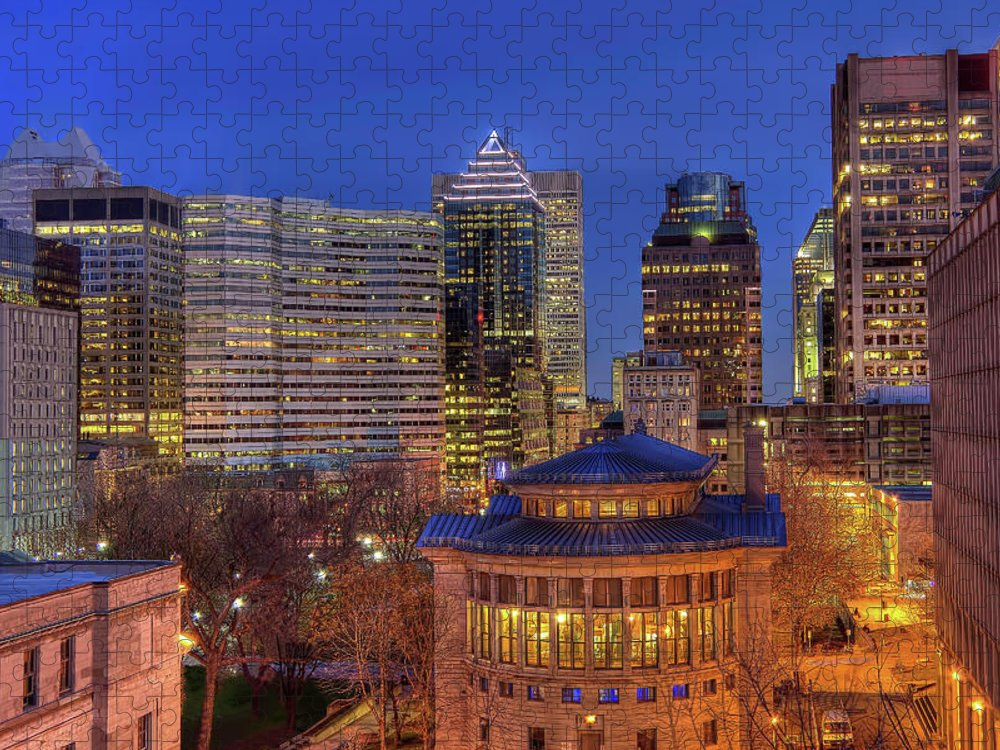 Tranquility Puzzle featuring the photograph Montreal Downtown At Dusk Hdr II by Jean Surprenant