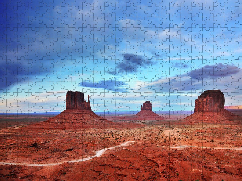 Tranquility Puzzle featuring the photograph Monument Valley Cool Light After Sunset by Utah-based Photographer Ryan Houston