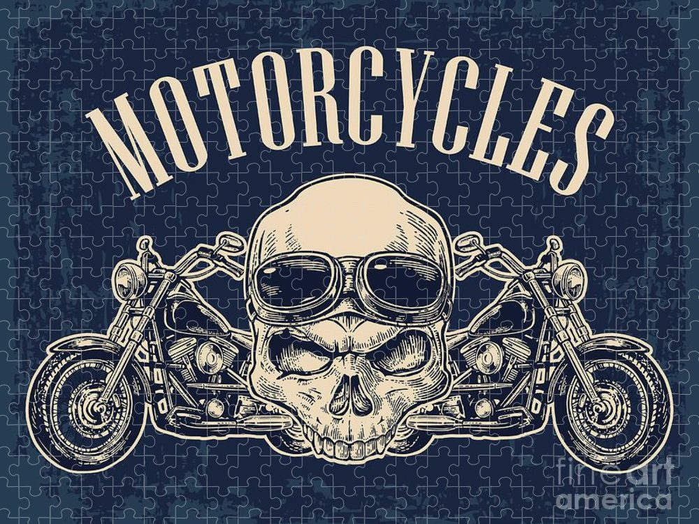 Engraving Puzzle featuring the digital art Motorcycle Side View And Skull by Morevector