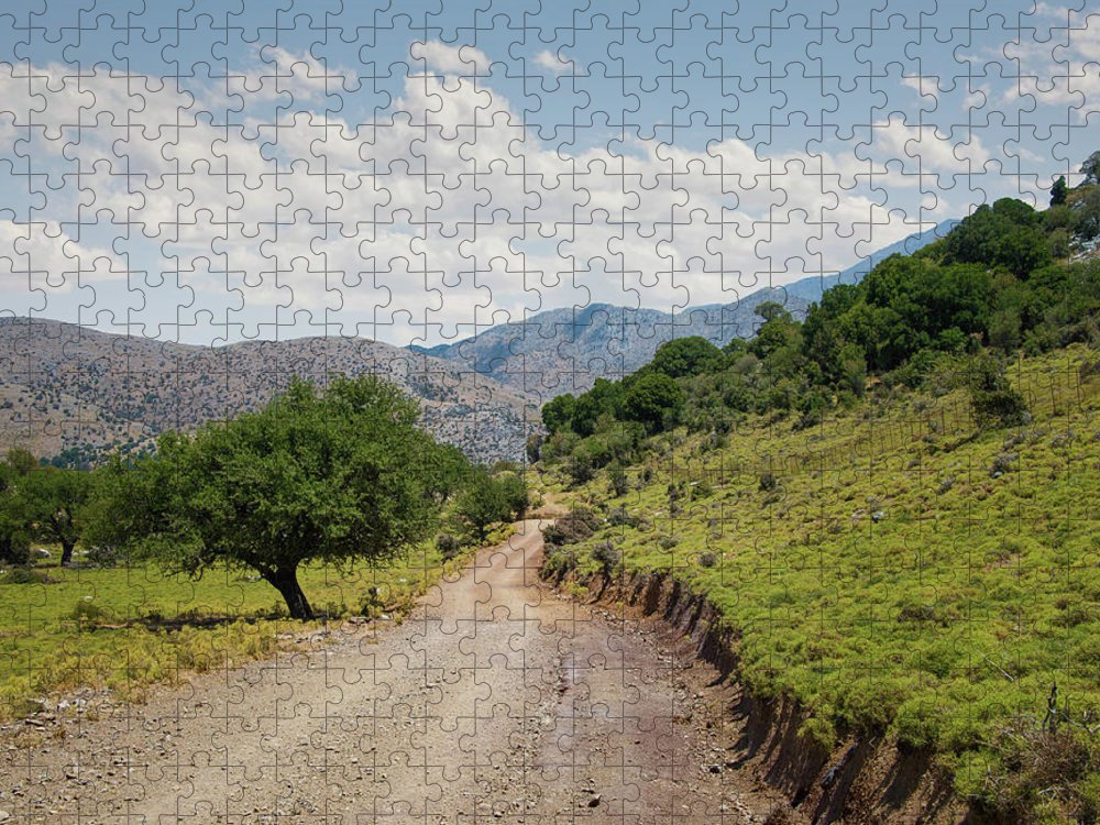 Tranquility Puzzle featuring the photograph Mountain Dirt Road In Northern Crete by Ed Freeman