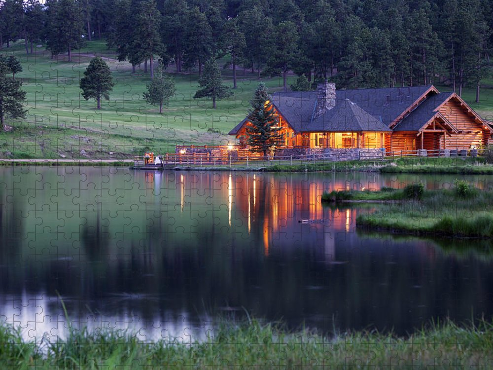 Water's Edge Puzzle featuring the photograph Mountain Lodge Reflecting In Lake At by Beklaus