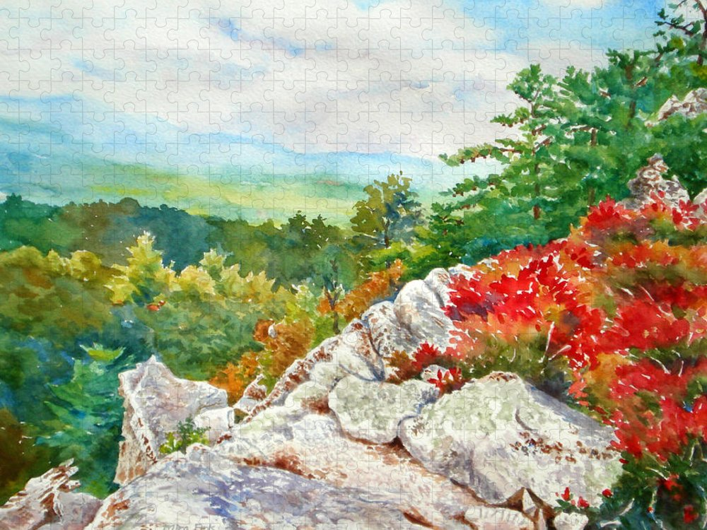 Rock Puzzle featuring the painting Mountain View from Rocky Cliff with Fall Colors by Mira Fink