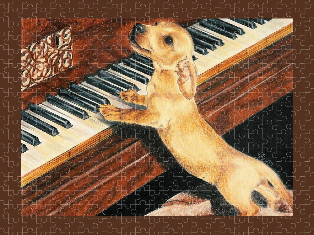 Purebred Dog Puzzle featuring the drawing Mozart's Apprentice by Barbara Keith