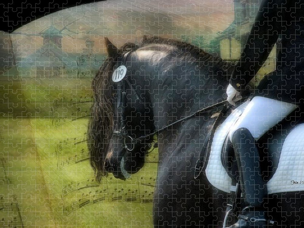 Friesian Horses Puzzle featuring the digital art Musical Freestyle by Fran J Scott