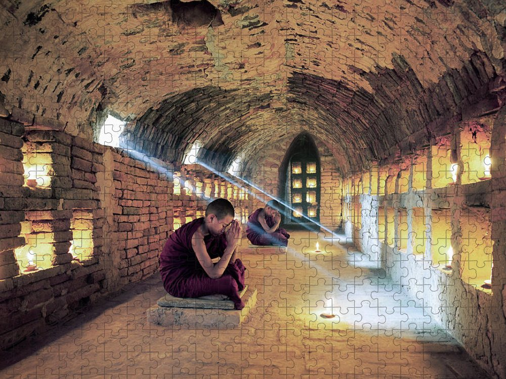 Arch Puzzle featuring the photograph Myanmar, Buddhist Monks Inside by Martin Puddy