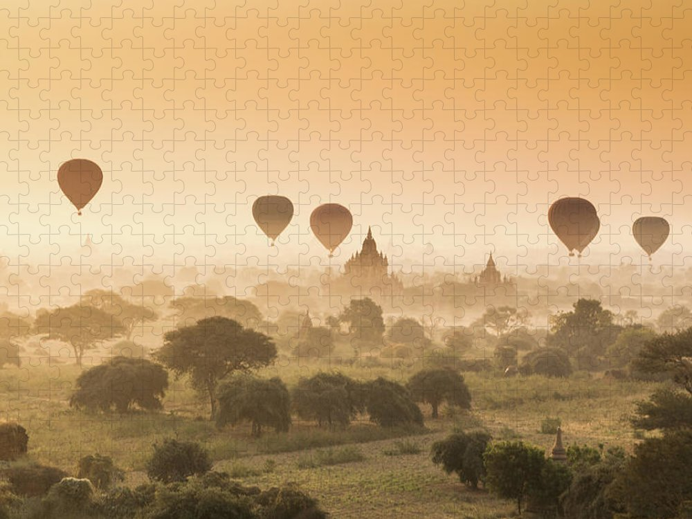 Tranquility Puzzle featuring the photograph Myanmar Burma - Balloons Flying Over by 117 Imagery