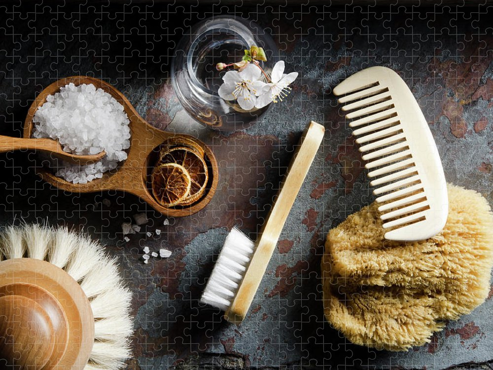 Comb Puzzle featuring the photograph Natural Bath Accesories On Gray by Nightanddayimages