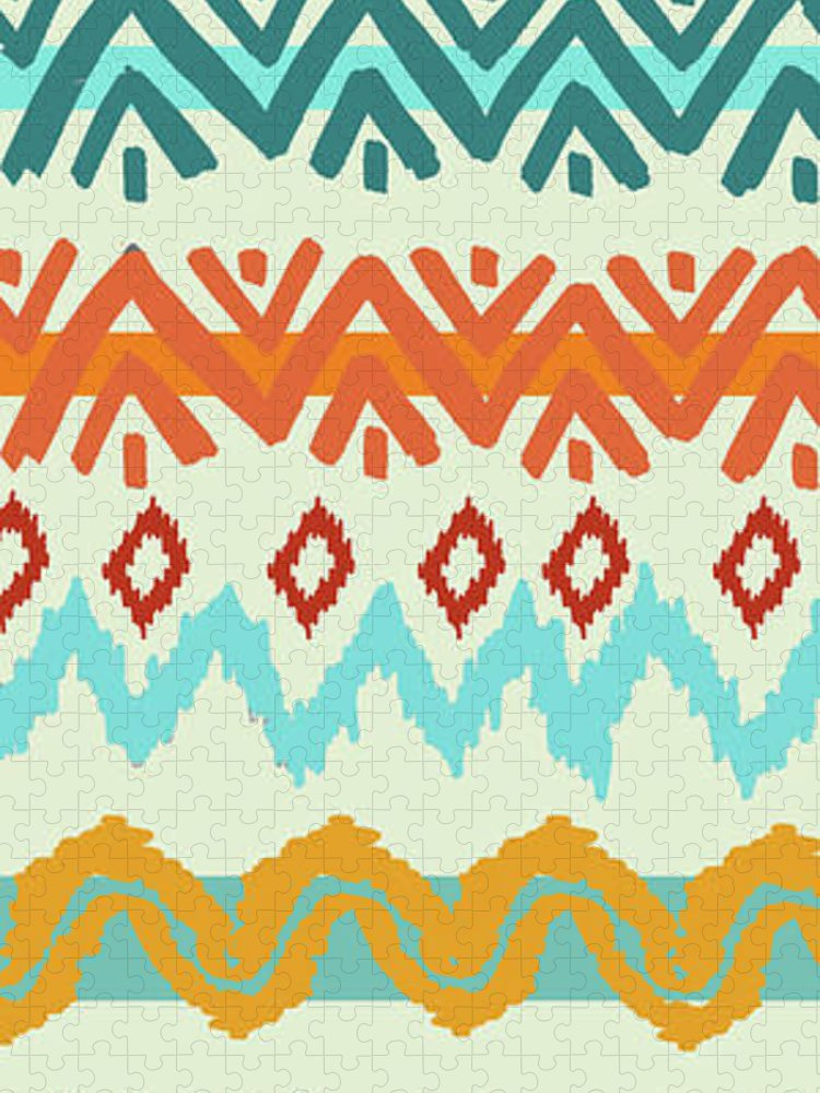 Navajo Puzzle featuring the digital art Southwest Pattern I by Nicholas Biscardi