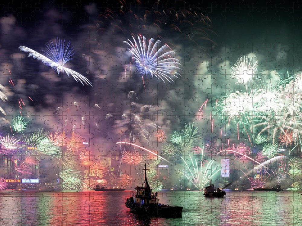 Firework Display Puzzle featuring the photograph New Year Fireworks Hong Kong Asia by Steffen Schnur