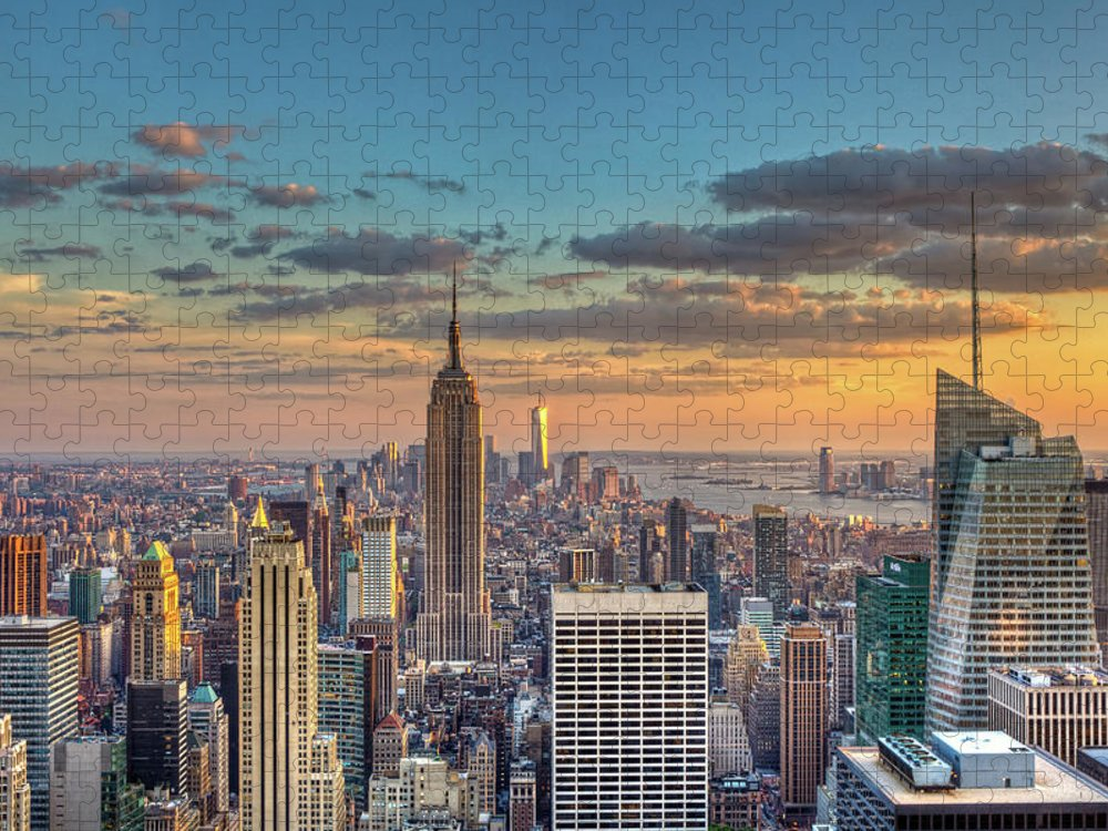 Tranquility Puzzle featuring the photograph New York Skyline Sunset by Basic Elements Photography