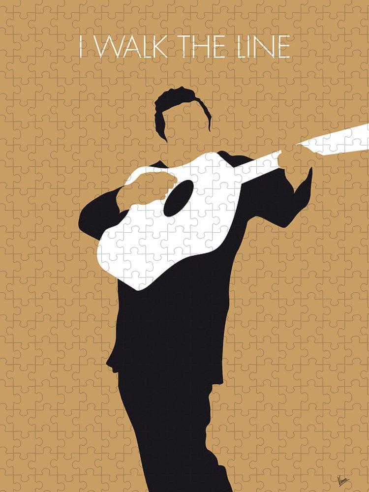 Johnny Puzzle featuring the digital art No010 MY Johnny Cash Minimal Music poster by Chungkong Art