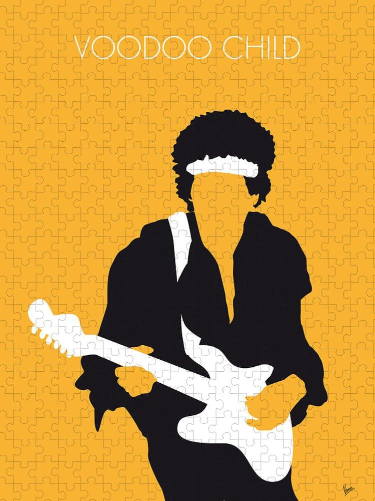 Jimi Puzzle featuring the digital art No014 MY Jimi Hendrix Minimal Music poster by Chungkong Art