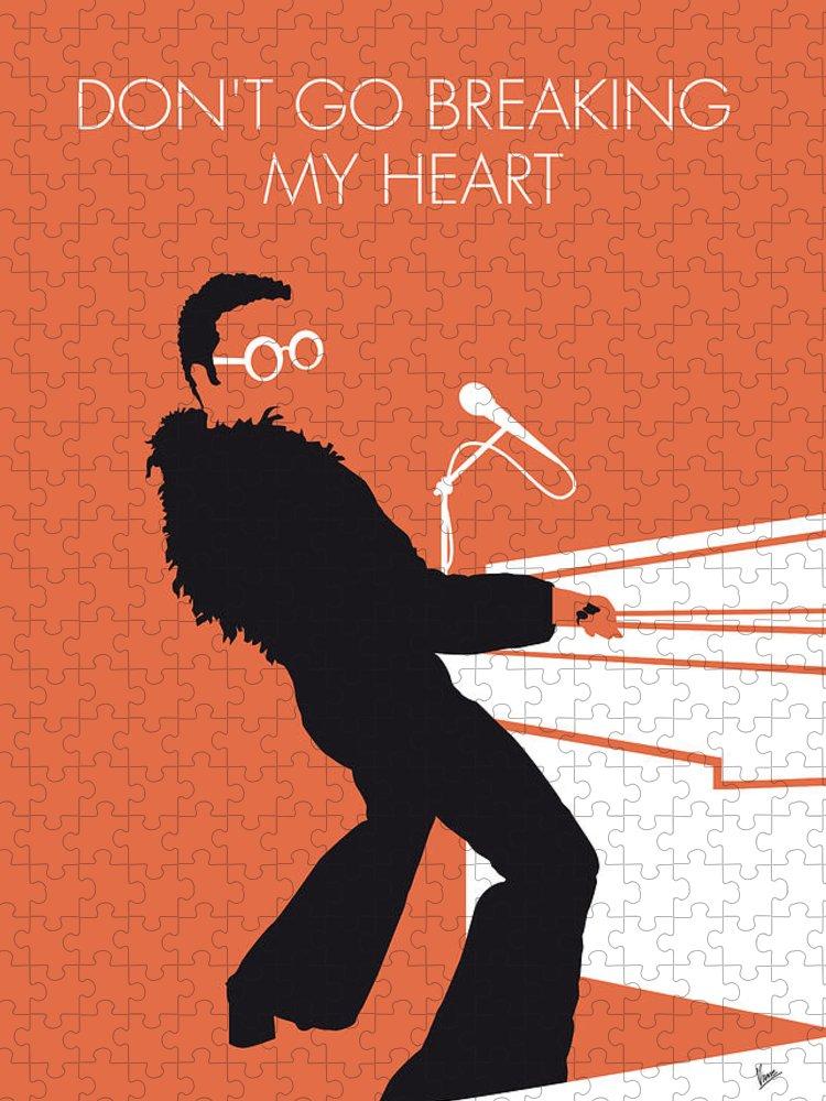Elton Puzzle featuring the digital art No053 MY ELTON JOHN Minimal Music poster by Chungkong Art