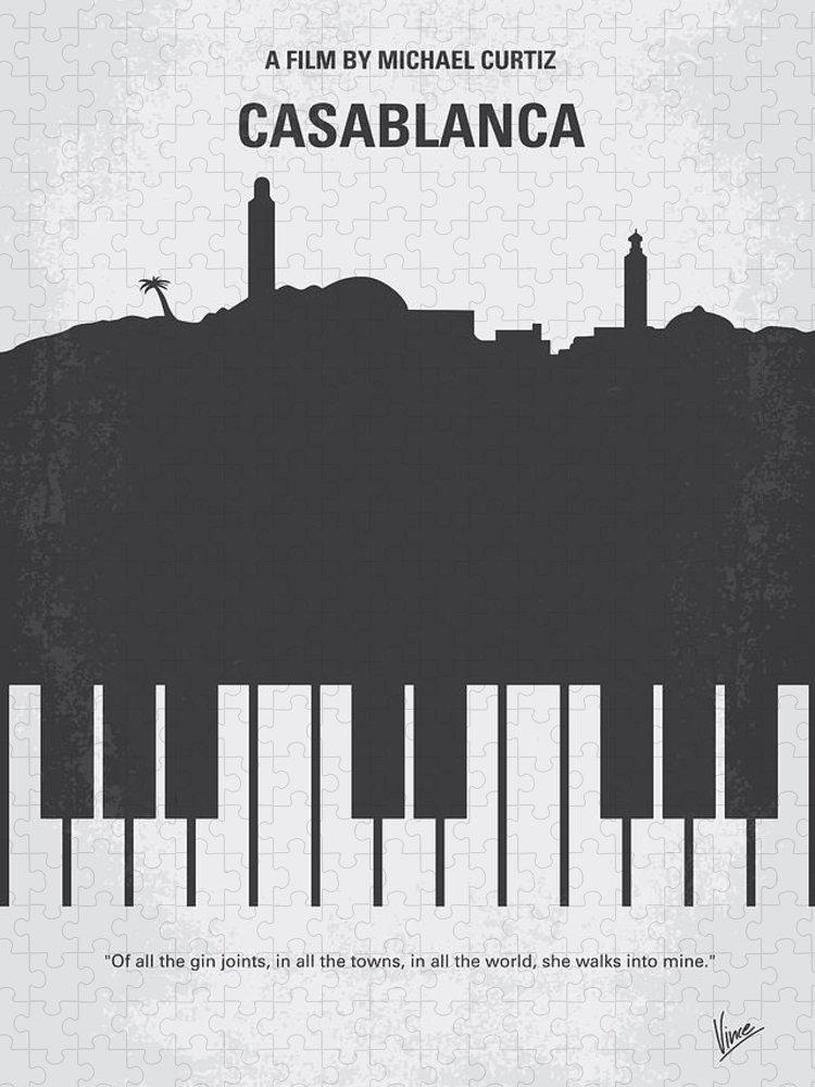 Casablanca Puzzle featuring the digital art No192 My Casablanca minimal movie poster by Chungkong Art
