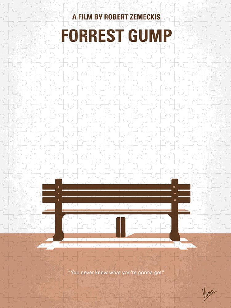 Forrest Puzzle featuring the digital art No193 My Forrest Gump minimal movie poster by Chungkong Art