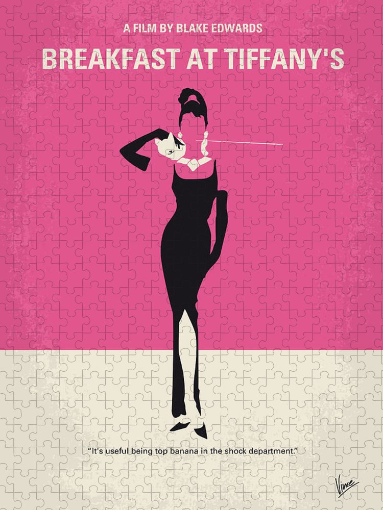 Breakfast Puzzle featuring the digital art No204 My Breakfast at Tiffanys minimal movie poster by Chungkong Art