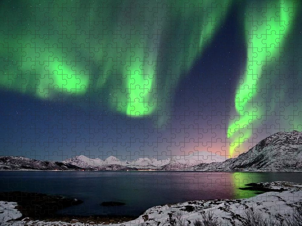 Tranquility Puzzle featuring the photograph Northern Lights And Moonlit Landscape by John Hemmingsen