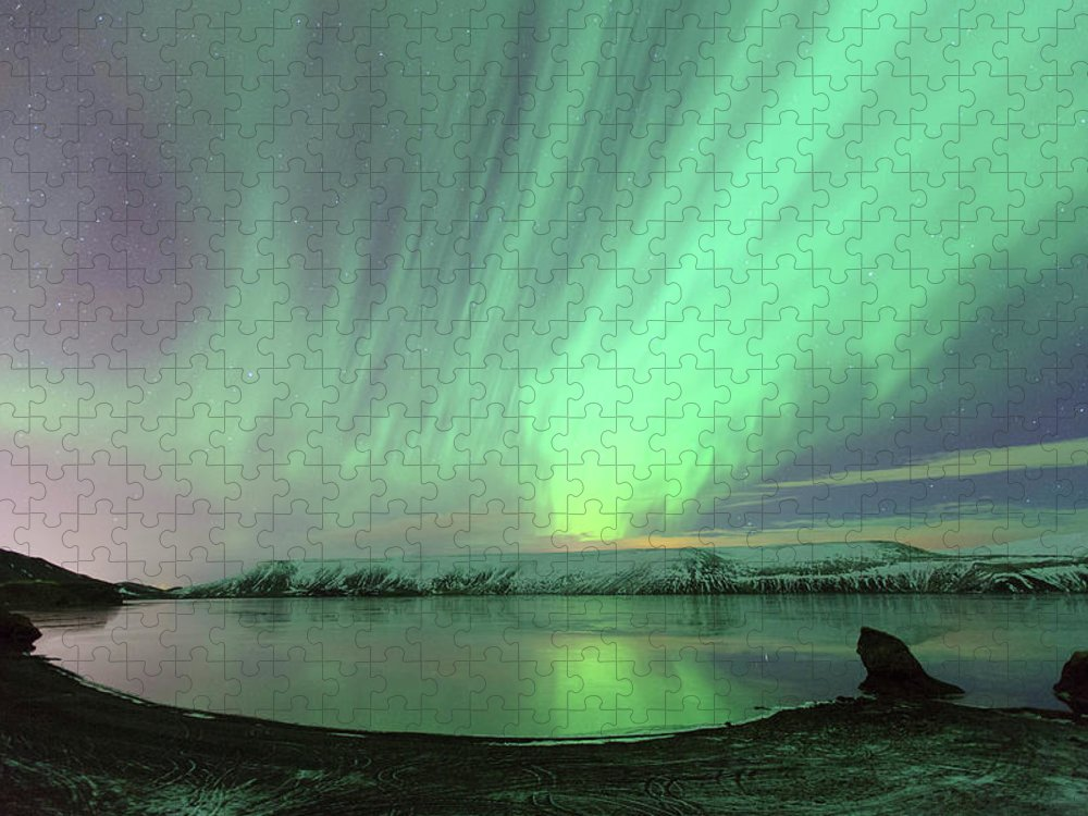 Scenics Puzzle featuring the photograph Northern Lights In Iceland by By Chakarin Wattanamongkol