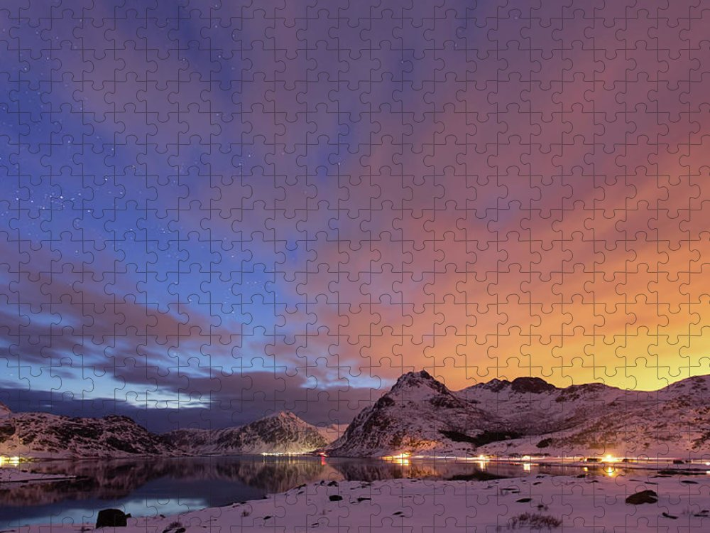 Scenics Puzzle featuring the photograph Norway Lofoten At Night With Burning Sky by Spreephoto.de