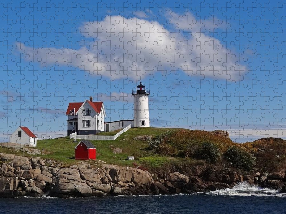 Tranquility Puzzle featuring the photograph Nubble Lighthouse by Photo Jacques Trempe
