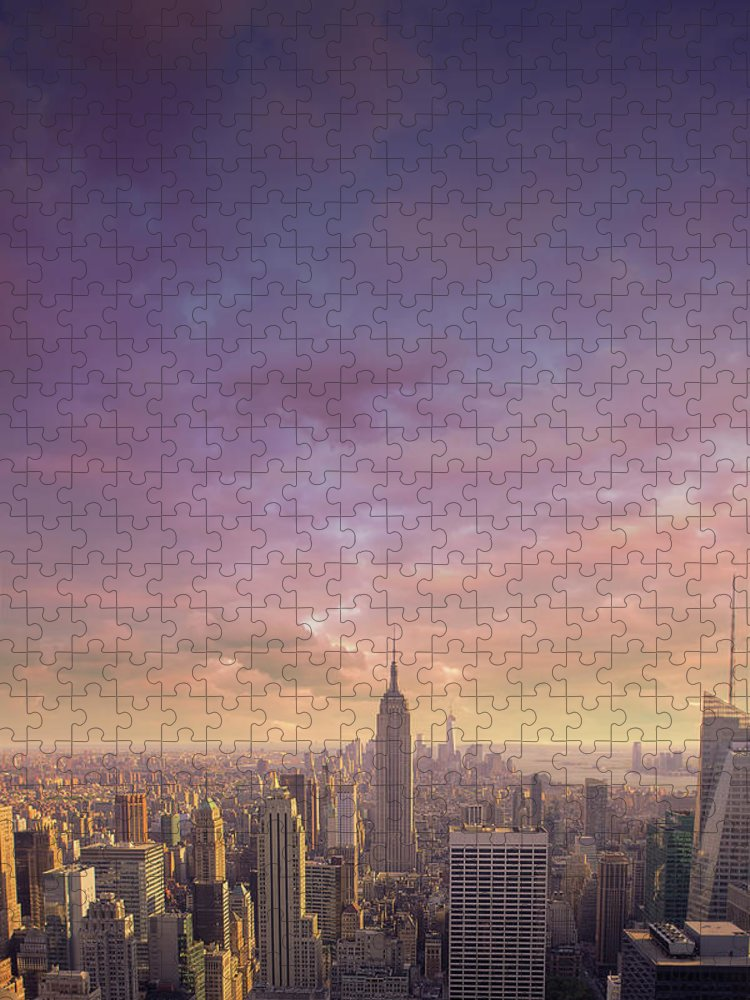 Lower Manhattan Puzzle featuring the photograph Nyc At Sunset by Bluberries