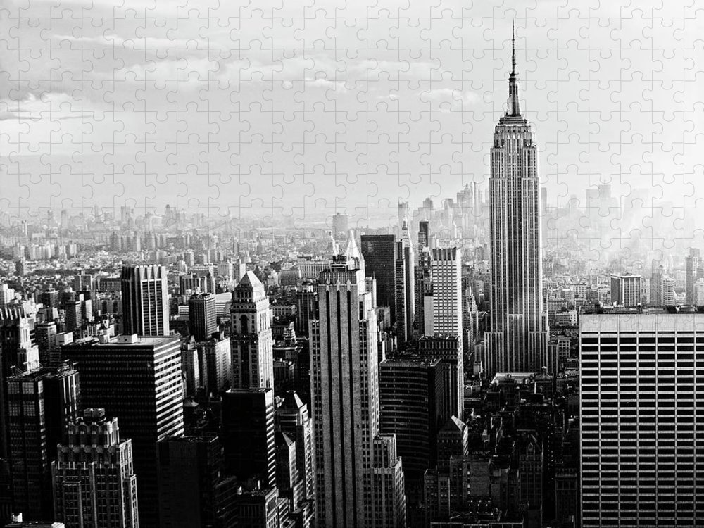 Lower Manhattan Puzzle featuring the photograph Nyc Skyline.black And White by Lisa-blue