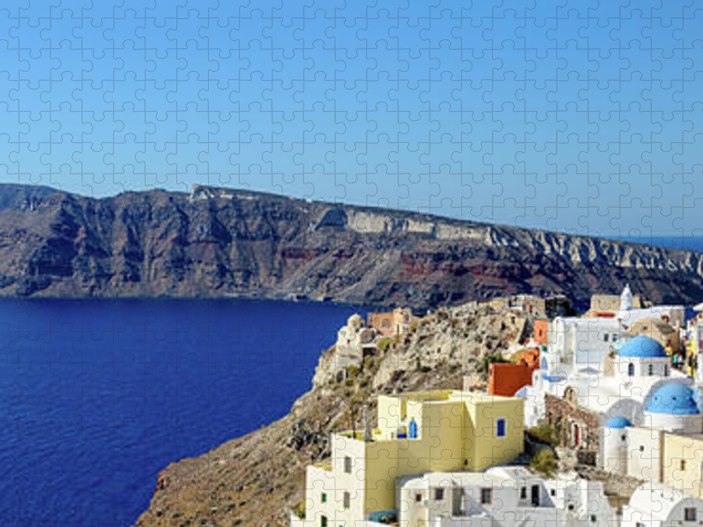 Scenics Puzzle featuring the photograph Oia Panoramic, Santorini, Greece by Chrishepburn