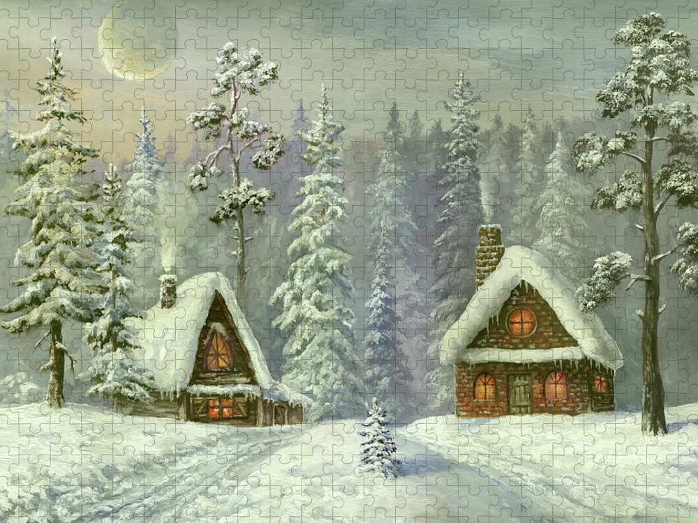Art Puzzle featuring the digital art Old Christmas Card by Pobytov