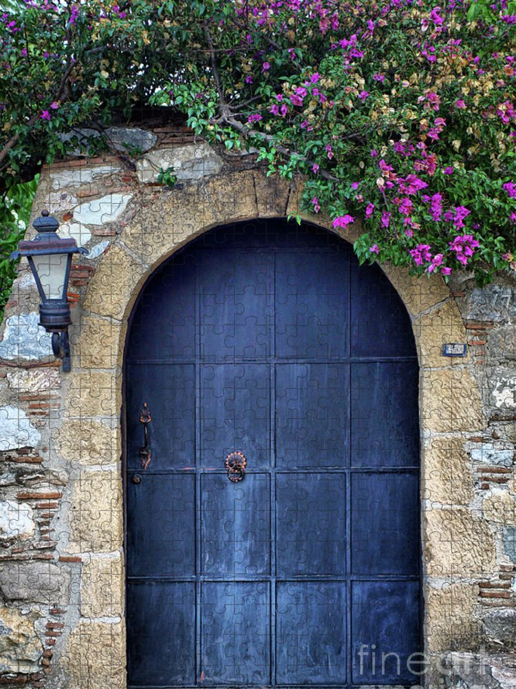 Aging Process Puzzle featuring the photograph Old Retro Wooden Blue Door by 79mtk