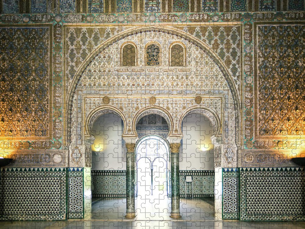 Arch Puzzle featuring the photograph Ornate Door Inside The Alcazar Palace by Matteo Colombo
