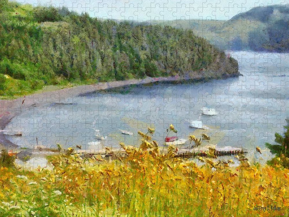 Canadian Puzzle featuring the painting Overlooking the Harbor by Jeffrey Kolker