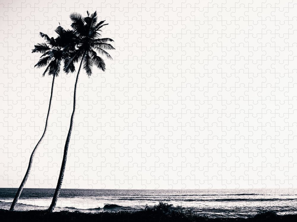 Empty Puzzle featuring the photograph Palm Trees And Beach Silhouette by Chrispecoraro