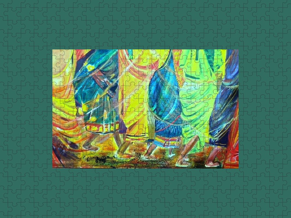 Women Walking Puzzle featuring the painting Panjim by Peggy Blood