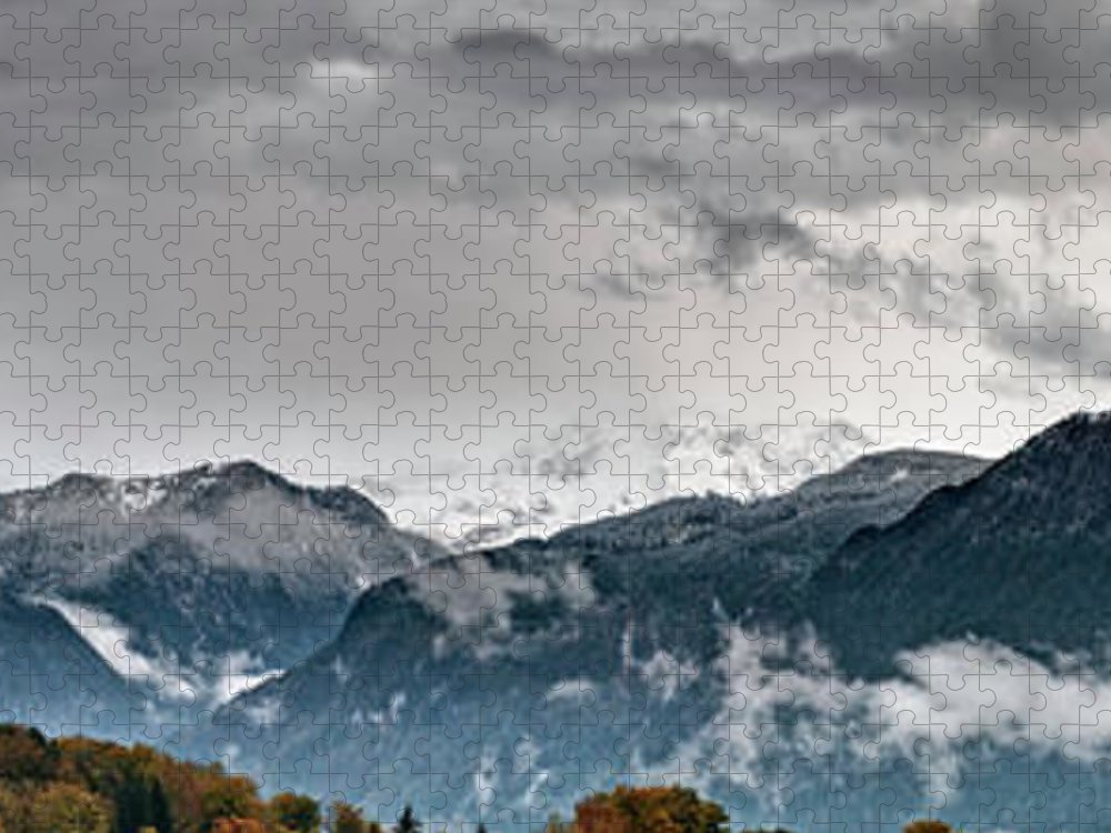 Extreme Terrain Puzzle featuring the photograph Panorama Of The Berchtesgaden Alps by Delectus