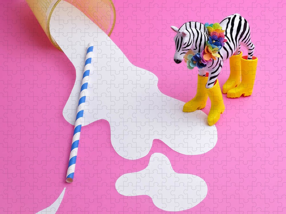 Milk Puzzle featuring the photograph Paper Craft Glass Of Spilled Milk With by Juj Winn