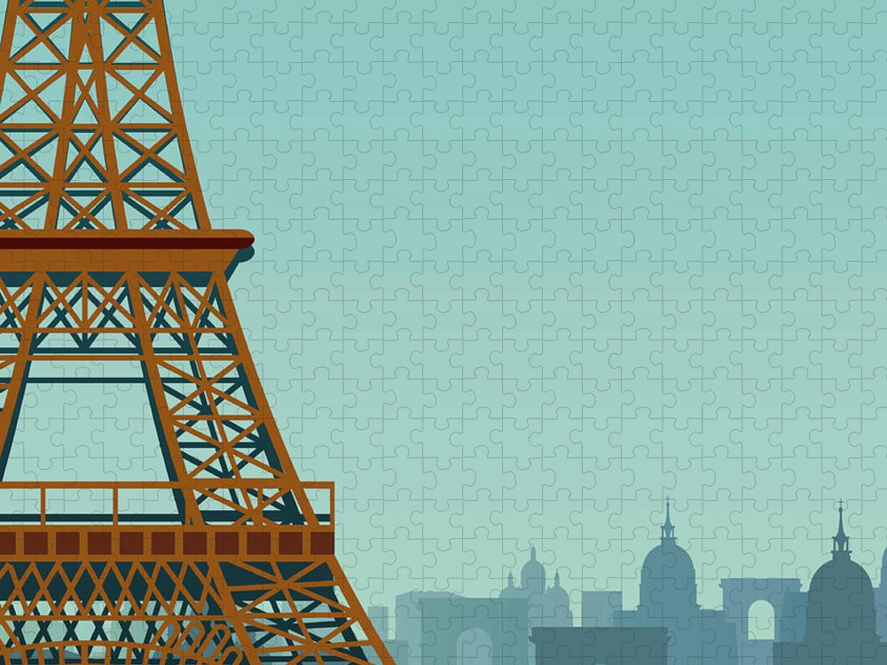 Built Structure Puzzle featuring the digital art Paris by Drmakkoy