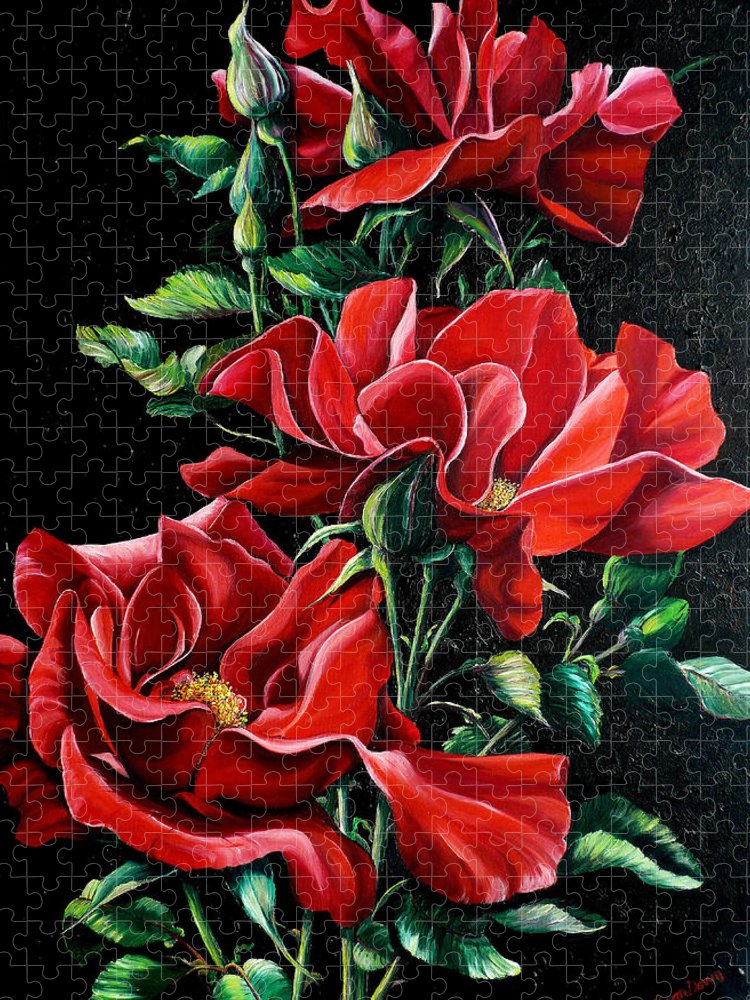 Rose Paintings Red Floral Paintings Flower Paintings  Botanical Paintings Red Rose Paintings Greeting Card Paintings Canvas Print Paintings  Puzzle featuring the painting Passionately Red by Karin Dawn Kelshall- Best