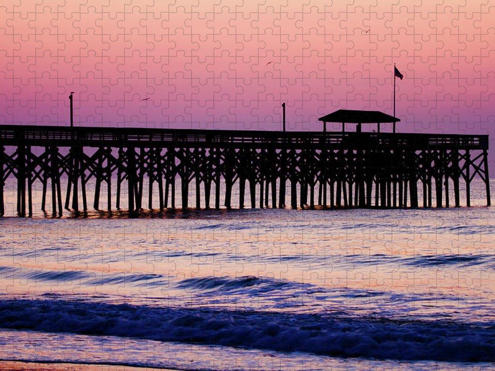 Dawn Puzzle featuring the photograph Pawleys Island Pier, South Carolina, Usa by Hiramtom