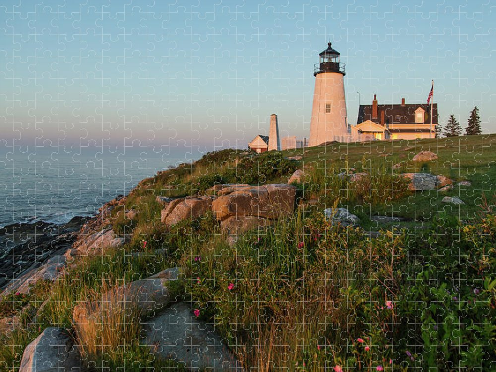 Tranquility Puzzle featuring the photograph Pemaquid Point Maine Lighthouse by Dave Mention Photography