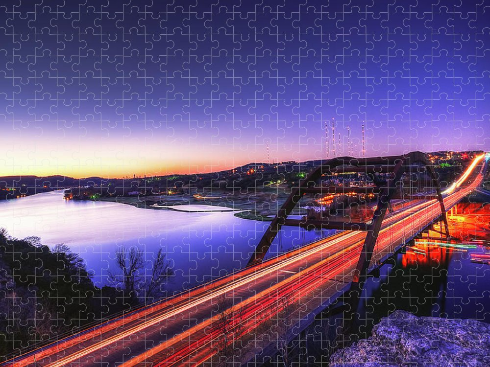 Tranquility Puzzle featuring the photograph Pennybacker Bridge by John Cabuena Flipintex Fotod
