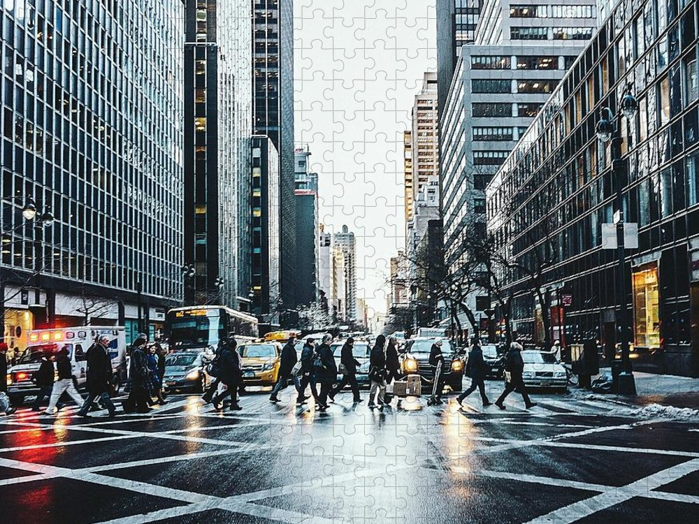 Pedestrian Puzzle featuring the photograph People Walking On City Street by Sven Hartmann / Eyeem