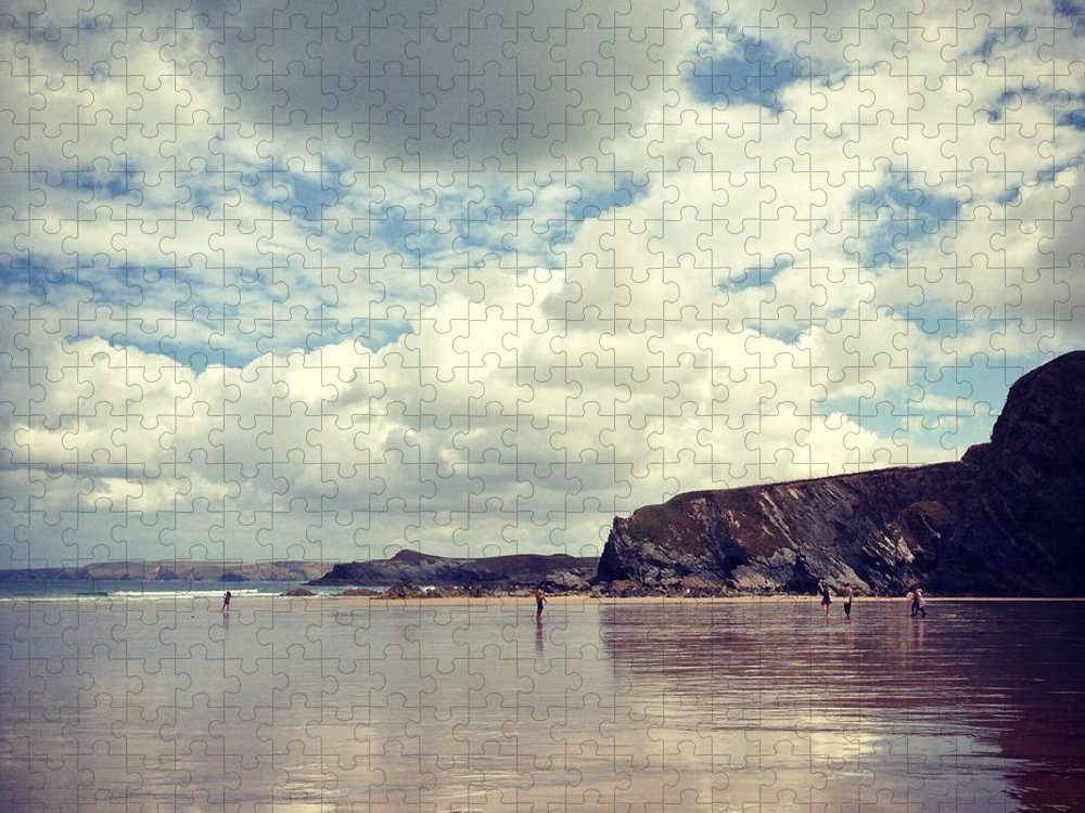 Mud Puzzle featuring the photograph People Walking On Wet Sand On Cloudy by Jodie Griggs