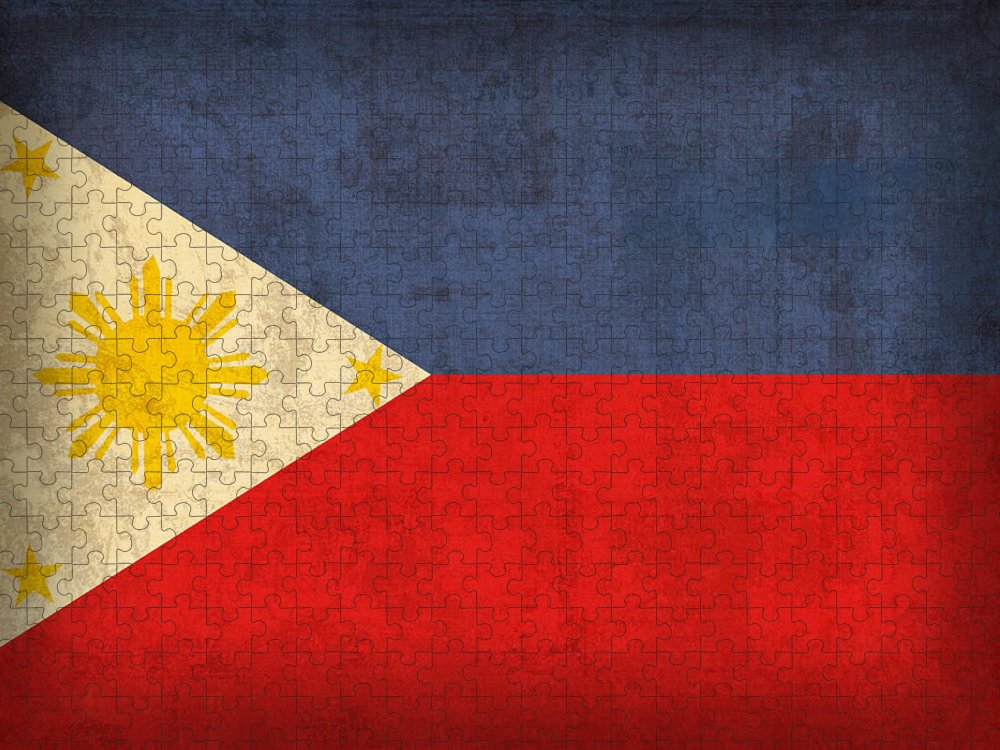 Philippines Puzzle featuring the mixed media Philippines Flag Vintage Distressed Finish by Design Turnpike