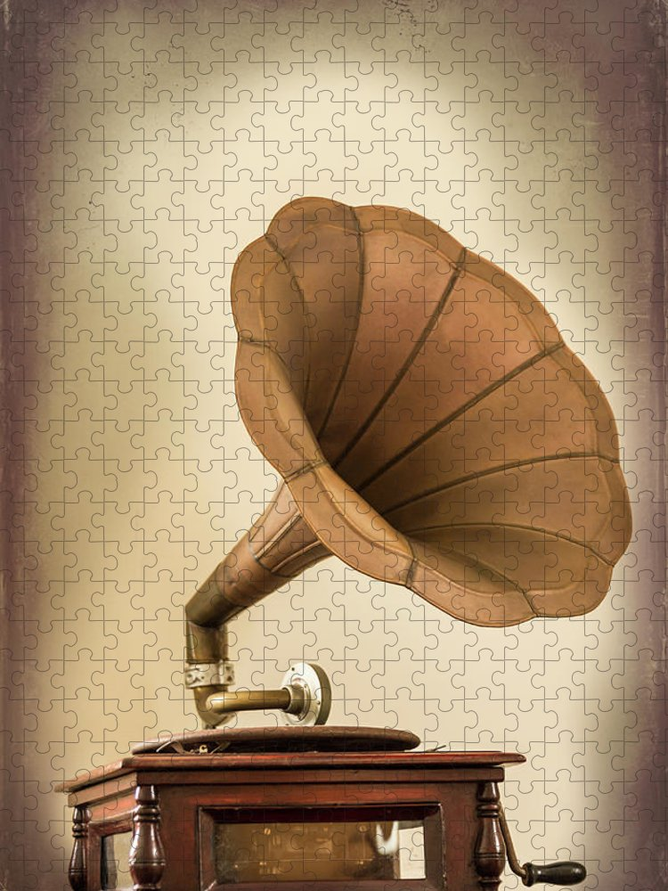 Music Puzzle featuring the photograph Phonograph Record Player by Gary S Chapman
