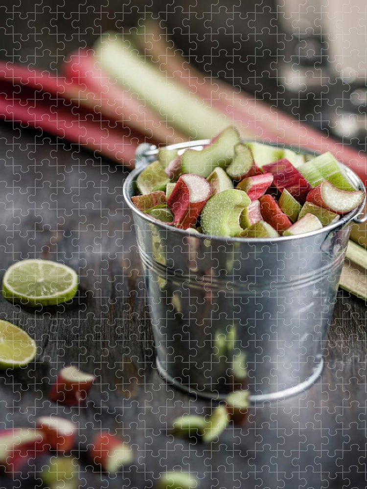 Bucket Puzzle featuring the photograph Pieces Of Rhubarb In Metal Bucket And by Westend61