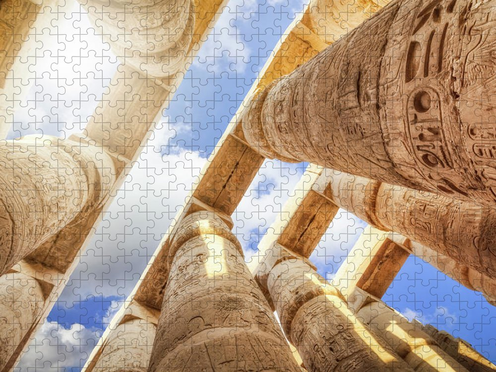 Ancient History Puzzle featuring the photograph Pillars Of The Great Hypostyle Hall by Cinoby