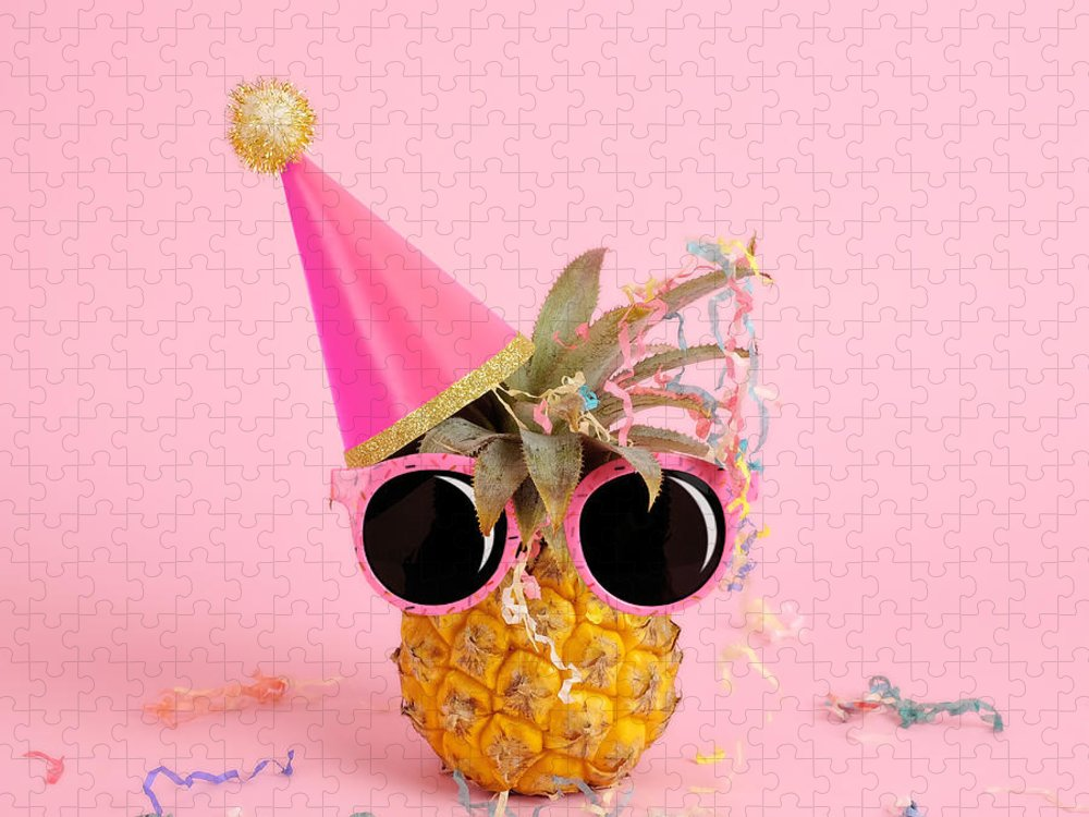 Celebration Puzzle featuring the photograph Pineapple Wearing A Party Hat And by Juj Winn