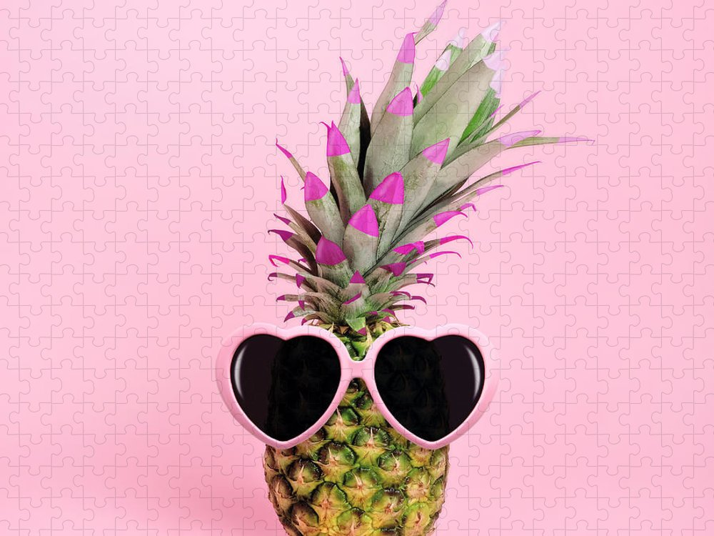 Food Puzzle featuring the photograph Pineapple Wearing Sunglasses by Juj Winn