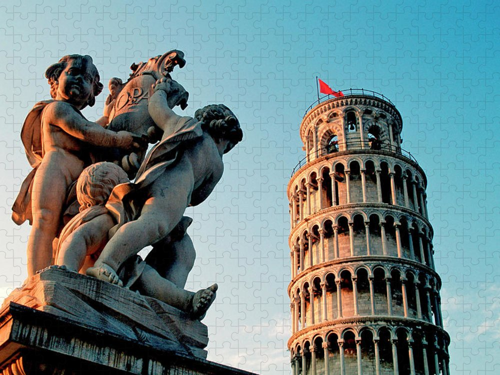 Statue Puzzle featuring the photograph Pisa, Leaning Tower, Tuscany, Italy by Hans-peter Merten
